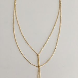 NWOT Bauble Bar gold layered lariat Y necklace